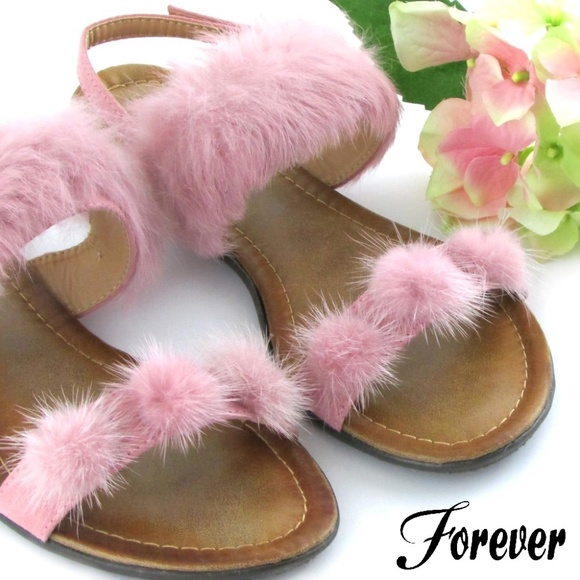 43a2a5bbffe Forever Fur Pom-Pom Strap Sandals